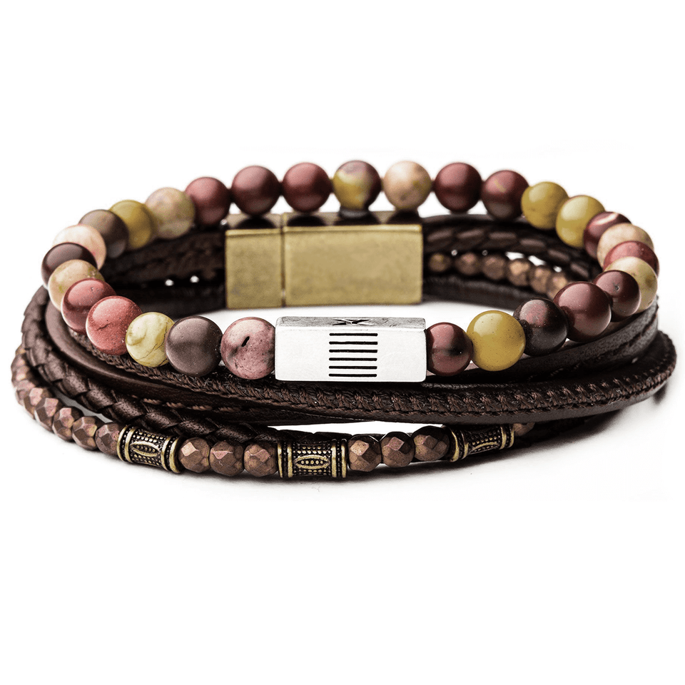 CANDYSHOP Mens Bracelet Stack with Multicolor Beads and Brown Leather