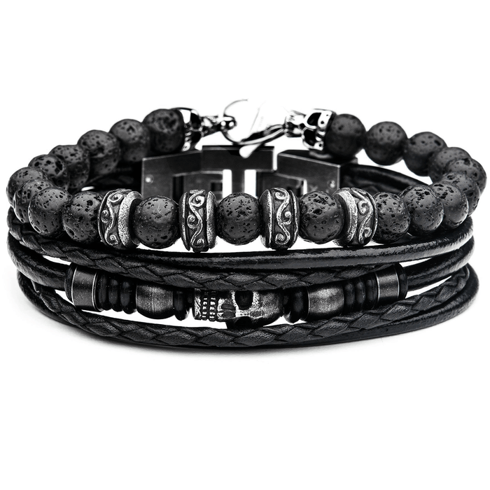 NECROPOLIS Mens Skull Bracelet Stack with Black Leather and Lava Beads