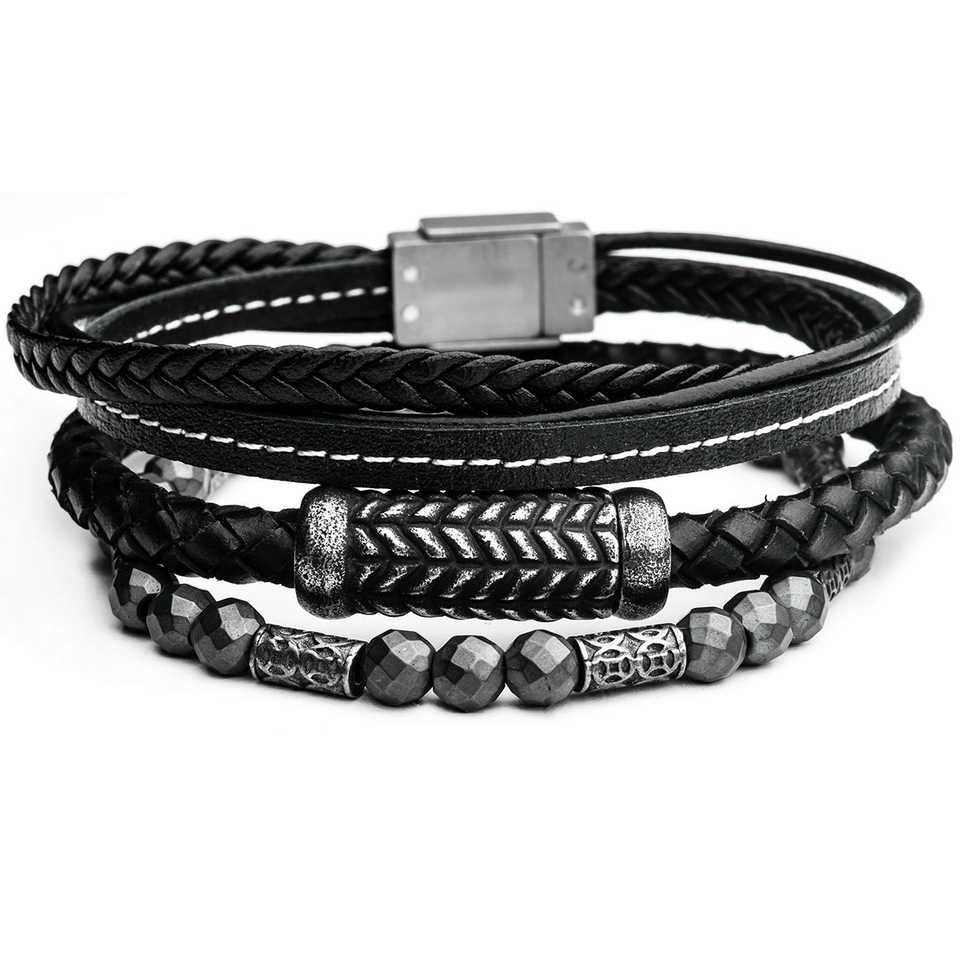 STONEWORK Black Leather Mens Bracelet Stack w/ Steel and Grey Hematite