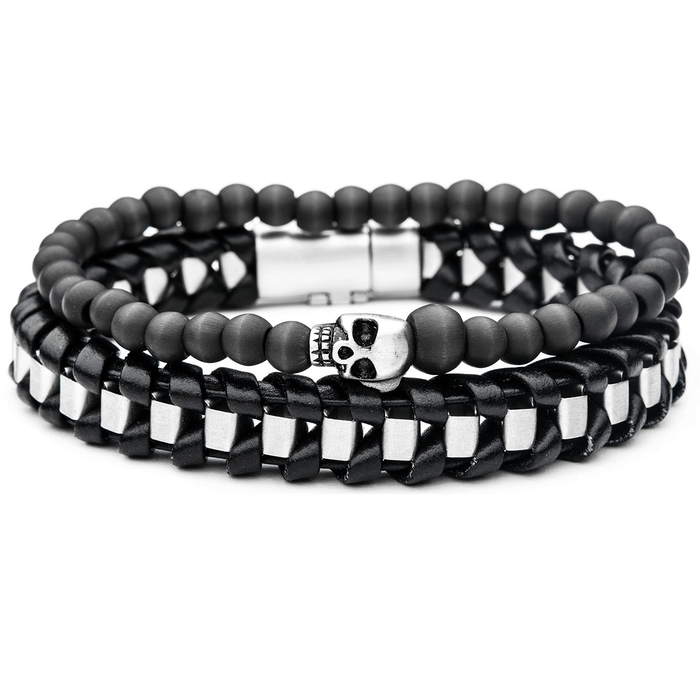 BACKBONE Leather & Steel Mens Bracelet Stack w/ Carbon Graphite Beads