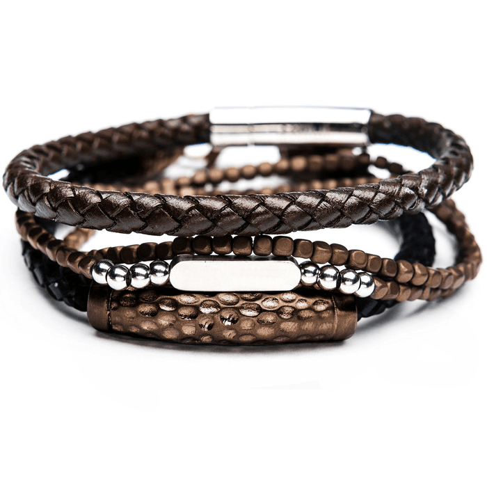 CACAO Brown Leather and Cappuccino Steel Bracelet Stack for Men