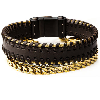GOLDMINE Mens Bracelet Stack with Brown Leather Cuff & Gold PVD Steel