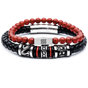 DRAGONFIRE Mens Bracelet Stack with Black Leather & Red Howlite Beads