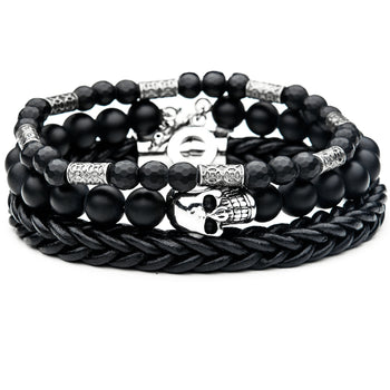 CATACOMB Skull Bracelet Stack for Men with Black Leather and Beads