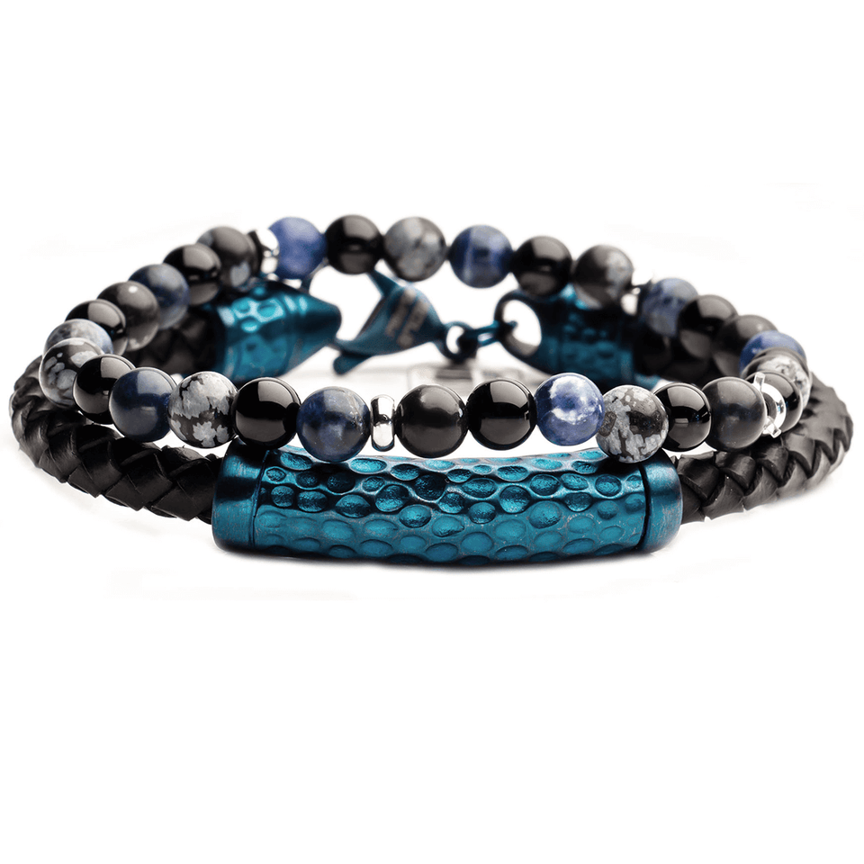 BLUE PERSUASION Mens Bracelet Stack for Men with Blue Steel and Beads