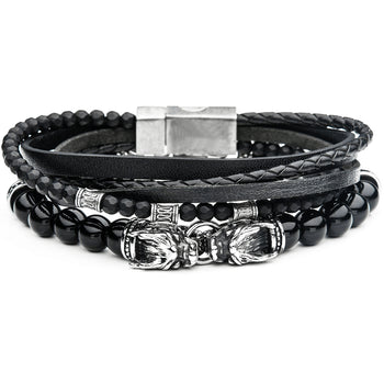 BLACK DRAGON Black Leather & Bead Mens Bracelet Stack w/ Steel Dragons