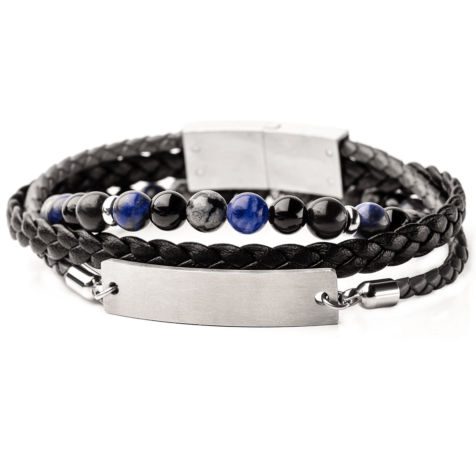 IDENTITY Mens Bracelet Stack with ID Tag Black Leather and Blue Beads