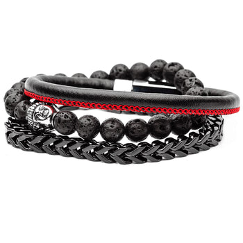 DALAI LAVA Mens Bracelet Stack with Buddha Head Black Steel & Leather