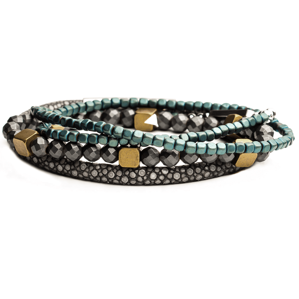 RIPTIDE Bracelet Stack with Blue Hematite Brass and Stingray Leather