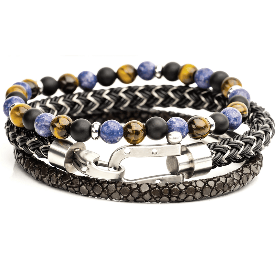 LUCKY SEAS Bracelet Stack with Horseshoe Stingray Leather and Beads