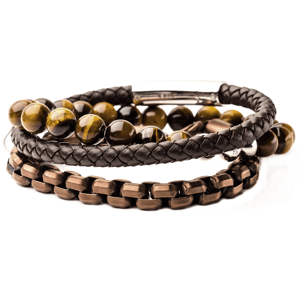 ESPRESSO Mens Bracelet Stack with Steel Brown Leather & Tiger Eye Bead