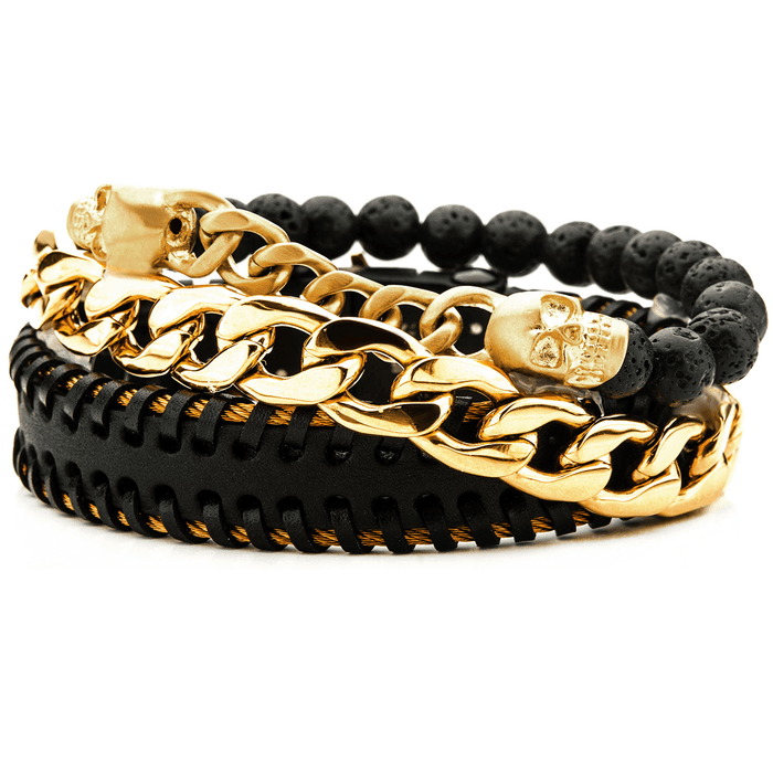 TITLE MATCH Skull Bracelet Stack for Men with Gold Steel & Lava Beads