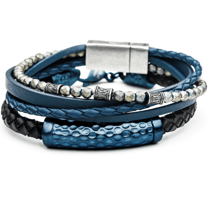 WAVERIDER Blue Leather & Steel Mens Bracelet Stack with Hematite Beads