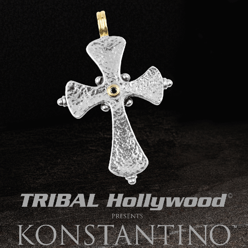 Konstantino BLACK DIAMOND HAMMERED CROSS Chain Pendant for Men