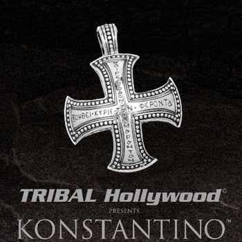 Konstantino GREEK GLYPH CROSS Chain Pendant for Men in Sterling Silver