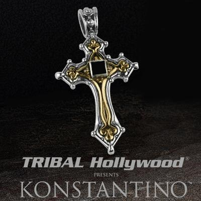 Konstantino PASSION CROSS Silver and Bronze  Pendant with Black Onyx