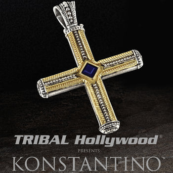 Konstantino BLUE LAPIS AND GOLD CROSS in Sterling Silver and 18k Gold