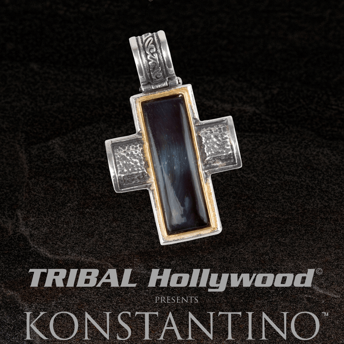Konstantino HAWKS EYE HEARTH CROSS Gold and Silver Mens Chain Pendant