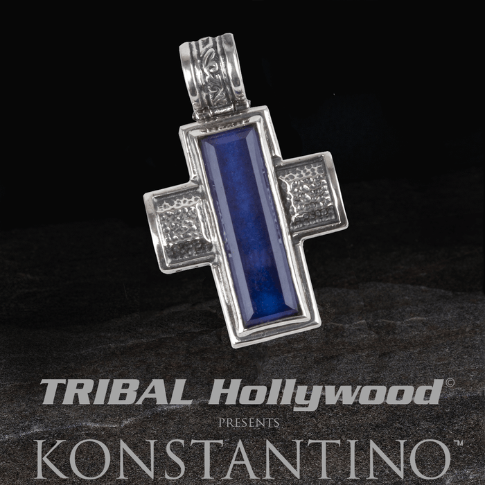 Konstantino BLUE LAPIS HEARTH CROSS Silver Mens Chain Pendant