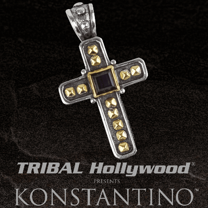 Konstantino HEPHAESTUS GOLD ARMOR CROSS in Silver and 18K Gold with Hawks Eye Stone
