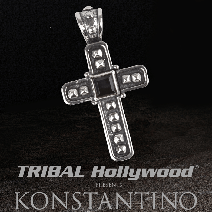 Konstantino HEPHAESTUS ARMOR CROSS Silver Chain Pendant with Hawks Eye