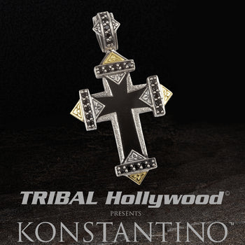 Konstantino FORTIFIED CROSS Onyx Mens Chain Pendant in Silver and Gold