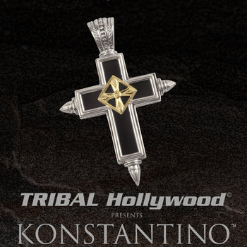 Konstantino SPIKED CROSS Black Onyx Silver Chain Pendant for Men