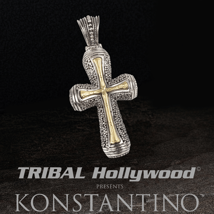 Konstantino GOLD BAMBOO CROSS Silver and 18k Gold Chain Pendant