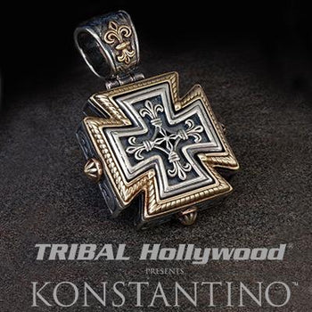 Konstantino FLEUR-DE-LIS MALTESE CROSS Mens Necklace Pendant