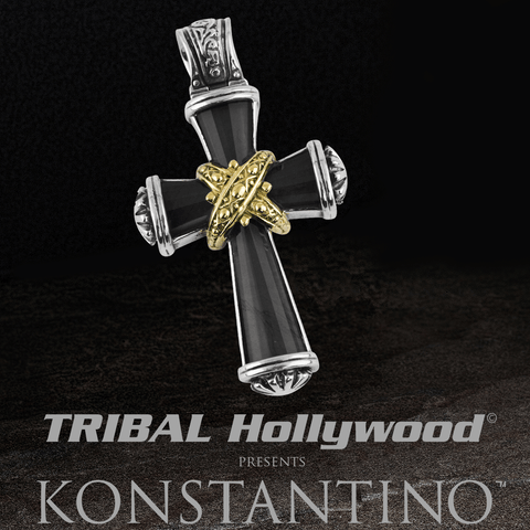 Konstantino BLACK ONYX GREEK SUNRISE CROSS Chain Pendant for Men