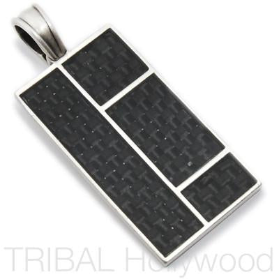 Bico Structure Block Panels Carbon Fiber Necklace Pendant