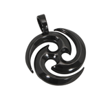 THE SOURCE GUNMETAL NECKLACE Mens Pendant and Black Leather Chain