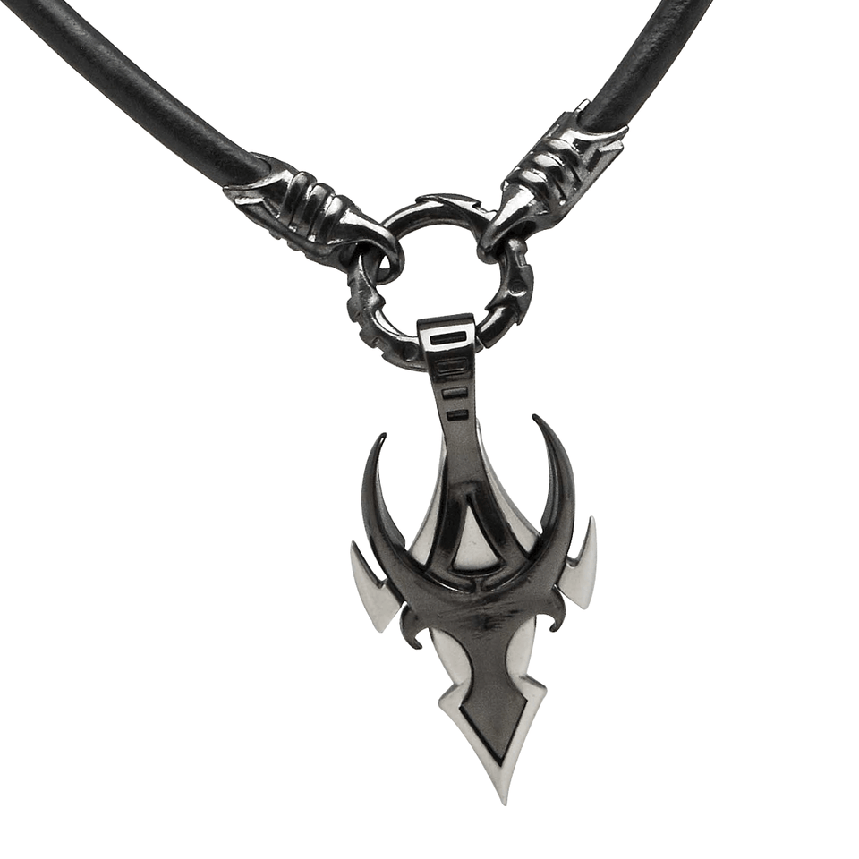 MASCHIO NECKLACE Silver and Gunmetal Black Leather Mens Necklace