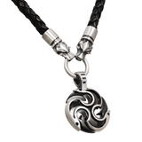 DIABLO WOLF Silver and Gunmetal Triple Yang Leather Mens Necklace