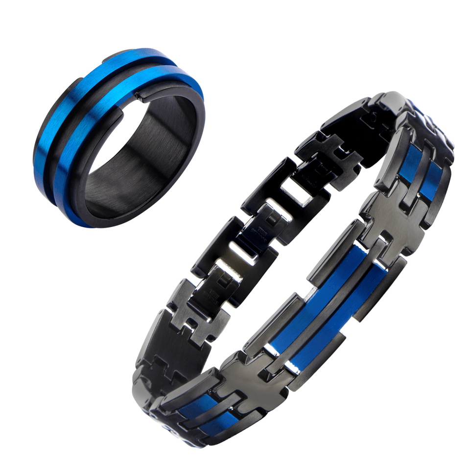 AVALANCHE COLLECTION Black and Blue Steel Bracelet and Ring for Men