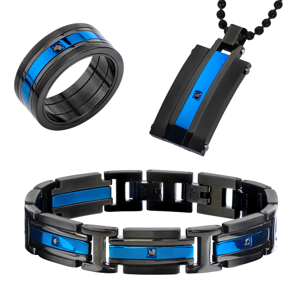 GLACIER COLLECTION Mens Black and Blue Steel Bracelet Dog Tag and Ring