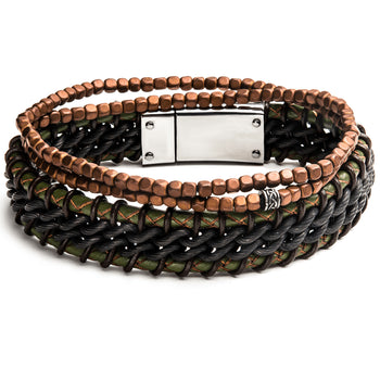 WILDERNESS Multi-Bracelet Stack for Men with Leather and Stone Beads