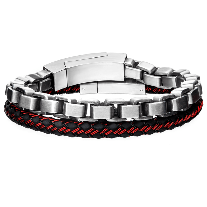 FLINT Mens Bracelet Stack with Red Accented Leather and Steel Box Link