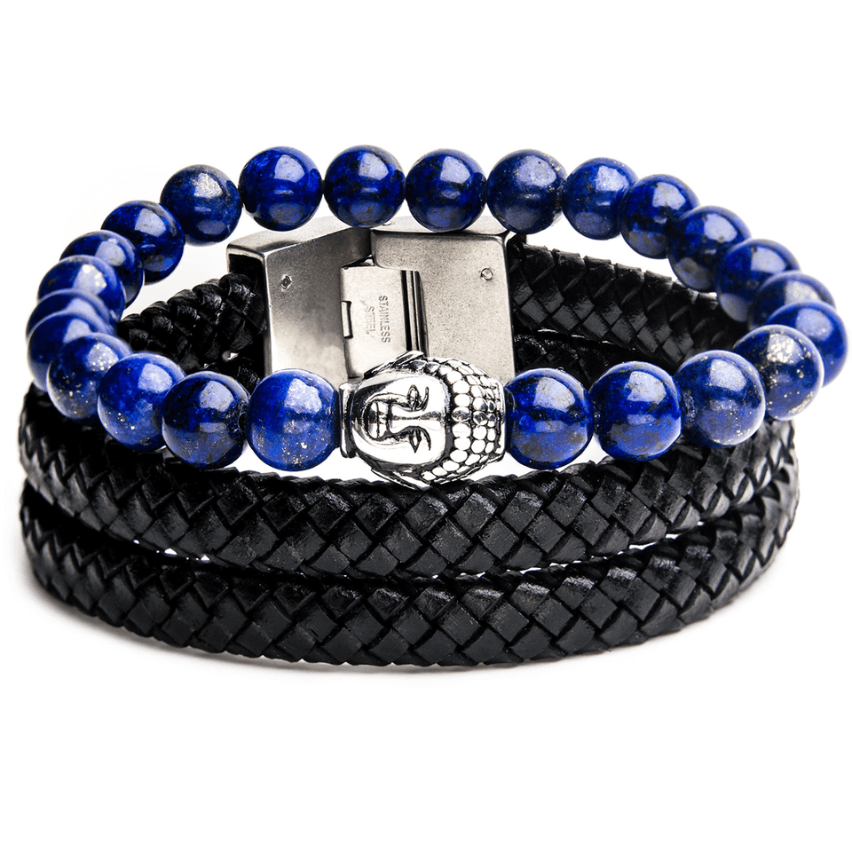 MEDITATION Mens Bracelet Stack Buddha Bead Blue Lapis and Leather
