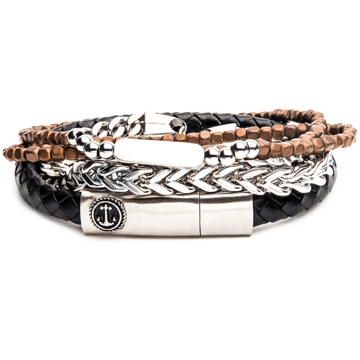 MARINER Mens Bracelet Stack with Steel Anchor Leather and Brown Beads