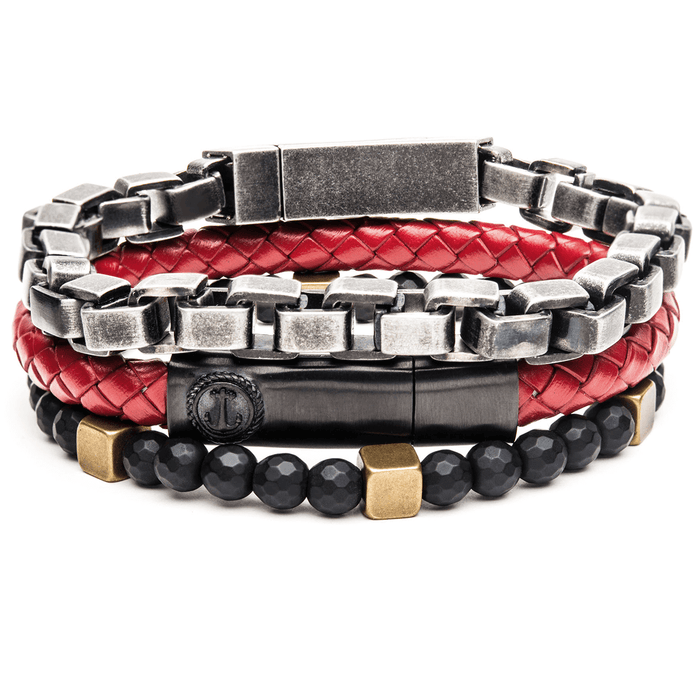THE PIRATE Mens Multi-Bracelet Stack with Red Leather Anchor Design