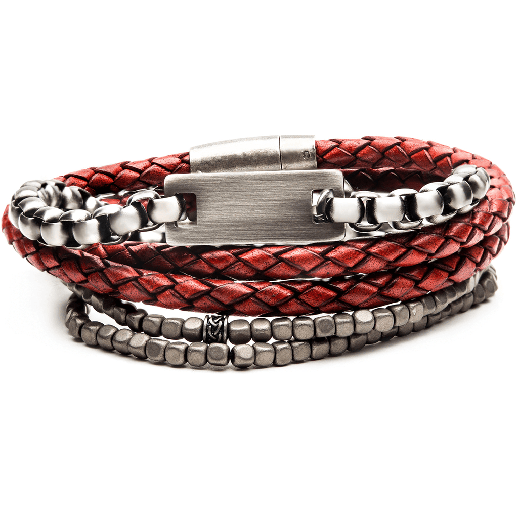 véritable de gros les mieux notés FIRE PIT Bracelet Stack for Men with Red Leather Steel and Grey Beads