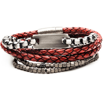 FIRE PIT Bracelet Stack for Men with Red Leather Steel and Grey Beads