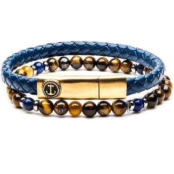 BON VOYAGE Mens Bracelet Stack with Blue Leather Anchor and Tigers Eye