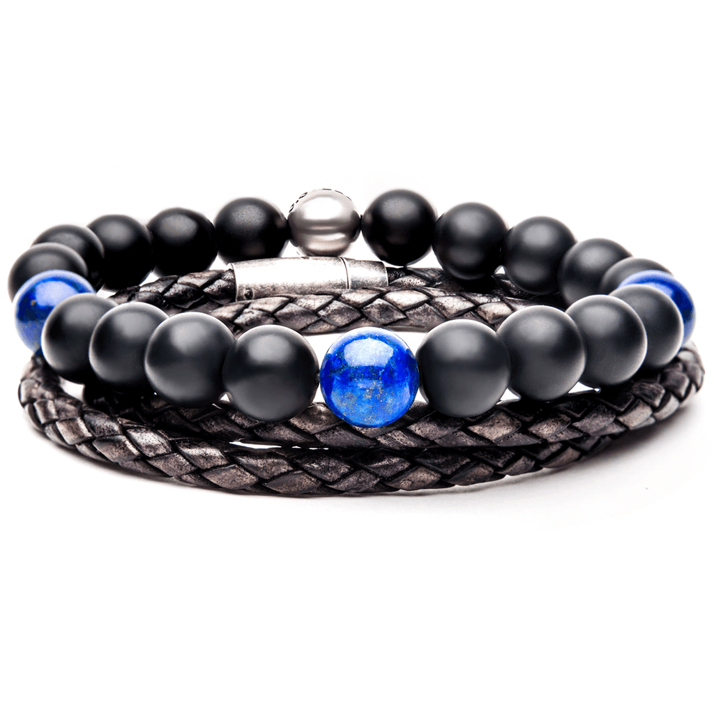 Hailstone Mens Bracelet Stack Brown Leather And Onyx Bead