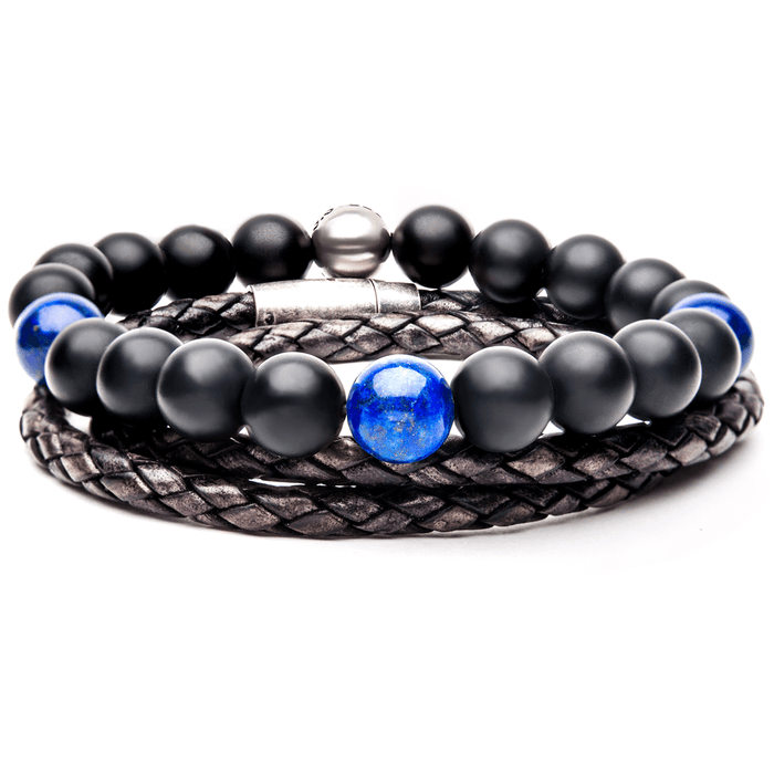 HAILSTONE Mens Bracelet Stack Leather and Beaded Mens Bracelets