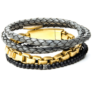 THE BOUNTY Mens Bracelet Stack with Leather Gold Steel and Black Beads