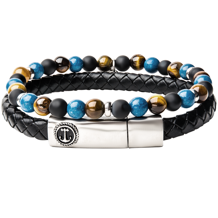 STORMS EYE Mens Bracelet Stack with Black Leather and Colorful Beads
