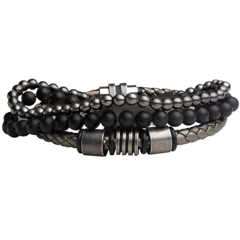 MULTIPLEX Mens Bracelet Stack with Gunmetal Steel and Onyx Beads