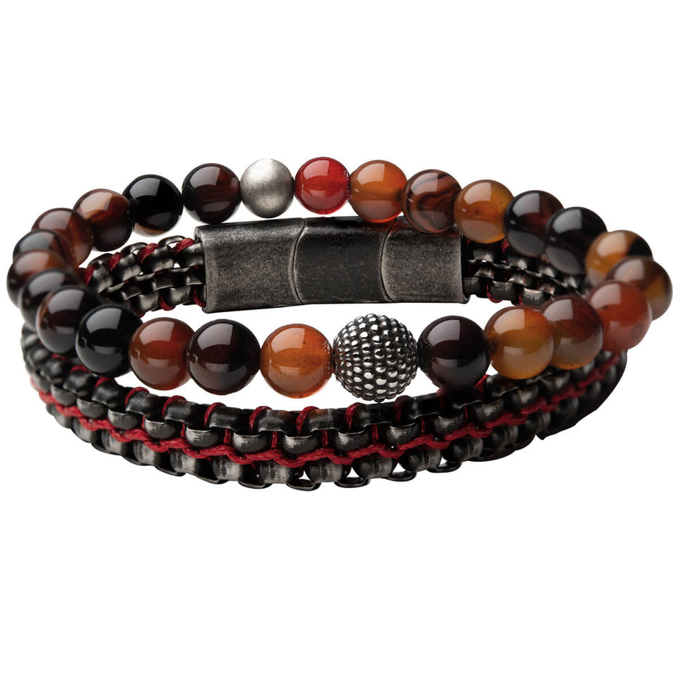 ALLEGIANCE Red Agate Bracelet Stack for Men with Aged Steel